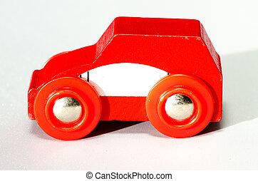 autó, piros