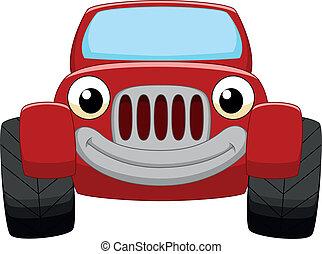 autó, piros, karikatúra