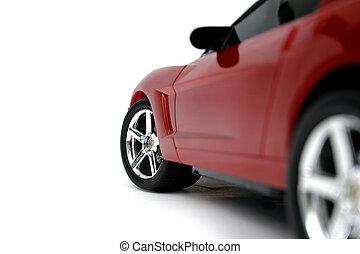 autó, piros, kisméretű