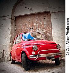 autó., piros, klasszikus
