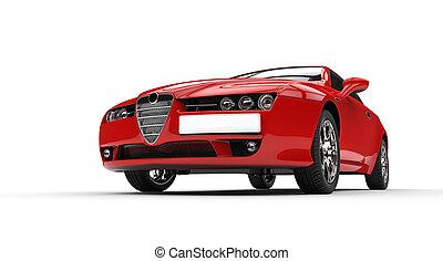 autó, piros, olasz