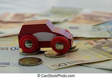 autó, piros, pénz