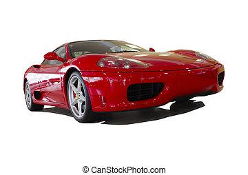 autó, piros, sport