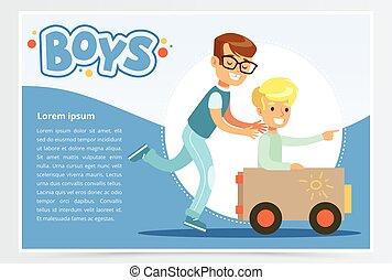autó, poszter, app, egy, másik, játékszer, bemutatás, website, lakás, ülés, rámenős, fiú, brosúra, előléptetési, transzparens, ő, fiú, mozgatható, elem, levelecske, időz, vektor, hirdetés, vagy