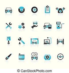 autó rész, és, szolgáltatás, ikonok
