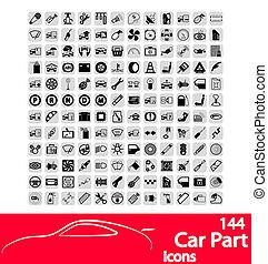 autó rész, ikonok