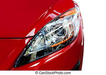 autó, részletez, piros