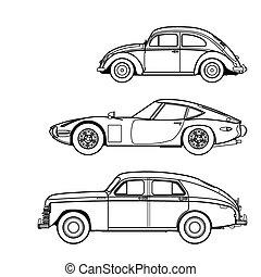 autó, rajzol, állhatatos, egyenes, retro