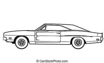autó, rajzol, egyenes, retro