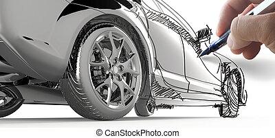 autó, rajzol, formál, kéz
