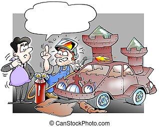 autó, rebuild, szerelő, bástya, darabka