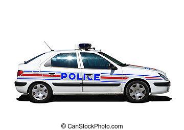 autó, rendőrség, francia