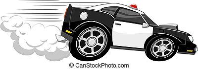 autó, rendőrség, karikatúra, gyorsan