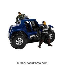 autó, rendőrség, katona