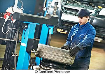 autó, repairman, -ban, kerék, pótlás, állás