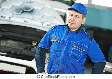 autó, repairman, szerelő, autó
