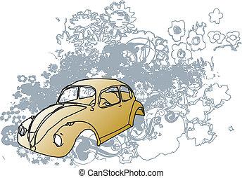 autó, retro, ábra