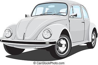 autó, retro, ezüstös