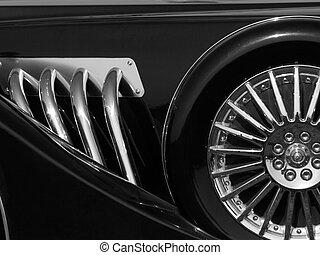 autó, retro, részletez