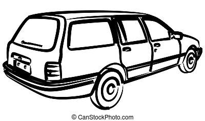autó, retro, sketch.