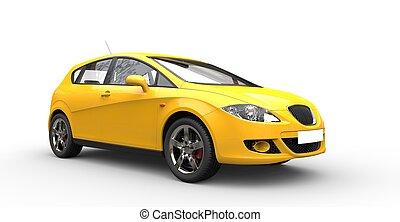 autó, sárga, család