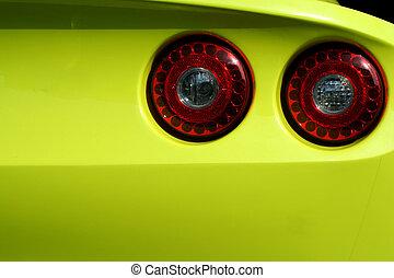 autó, sárga, sport, állati tüdő, farok, piros