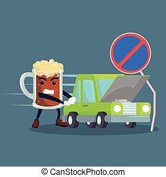autó, sör, rámenős, lezuhan, ember