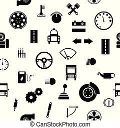 autó, seamless, alkatrészek, kímél, háttér példa, icon.