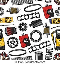 autó, seamless, alkatrészek, kímél, motívum, eszközök
