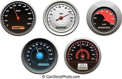 autó, sebességmérő, állhatatos