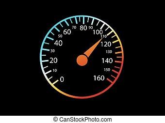 autó, sebességmérő, black háttér