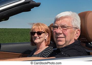 autó, senior összekapcsol, sport