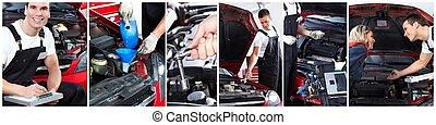 autó, service., rendbehozás