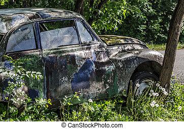 autó, sideview, színes, klasszikus