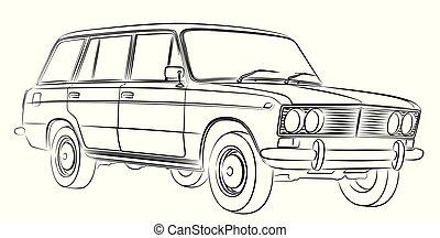 autó, sketch., retro