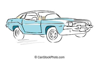 autó, skicc, vektor, rajz, izom