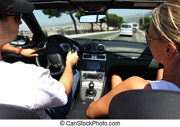 autó, sofőr