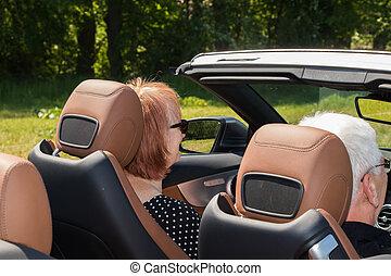 autó, sport, két, öregedő emberek