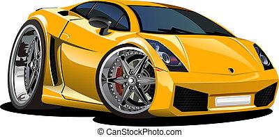 autó, sport, karikatúra