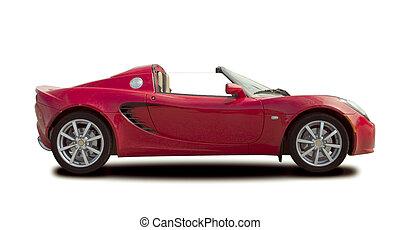 autó, sport, piros