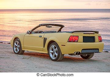 autó, sport, sárga, kabrió