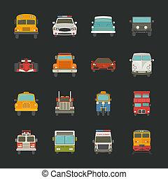 autó, szállít, ikonok