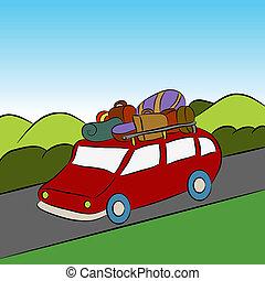 autó, szünidő, család út