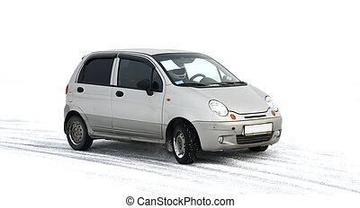 autó, szürke
