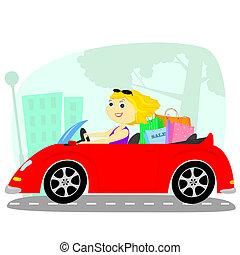 autó, szőke