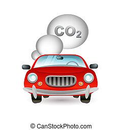 autó, szennyezés, ikon