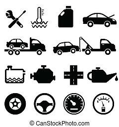 autó, szerelő, fenntartás, ikonok