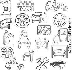 autó, szerelő, szolgáltatás, ikonok