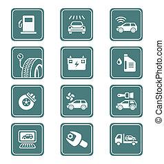 autó szolgáltatás, ikonok, |, böjti réce, sorozat