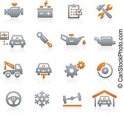 autó szolgáltatás, ikonok, -, grafit, sorozat